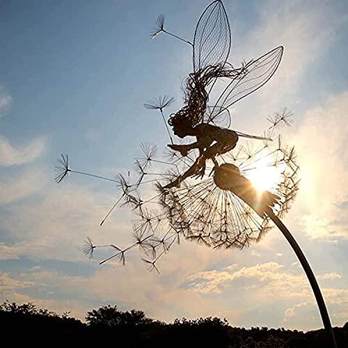 LöWenzahn-Fee-Skulptur, Garten-Silhouettenpfähle Gartenskulpturen Dekorativer Metallpfahl Fee,...