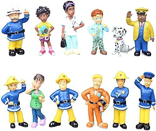 12 Teile / Satz Feuerwehrmann Sam Cartoon Anime Feuer Kampf Figur Modell PVC Puppe Mädchen...