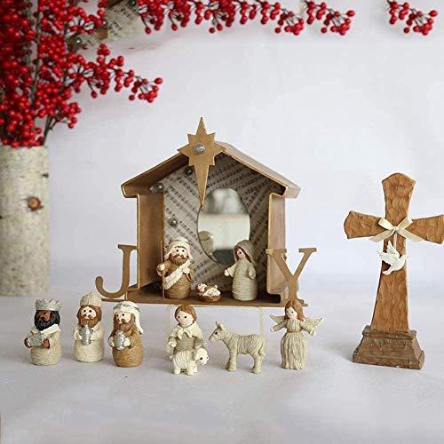 LYTBJ Exquisite 9 Stück Miniatur Exquisite Imitation Seide Weihnachtskrippe Set in der Krippe...