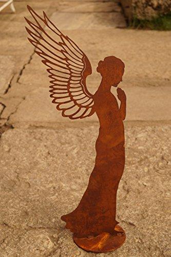 Saremo Edelrost Engel betend filigran 55 cm Gartendekoration Flügel Weihnachten Figur