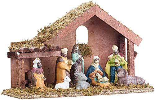 Britesta Deko-Weihnachtskrippen: Klassische Holz-Weihnachtskrippe mit handbemalten Porzellan-Figuren...