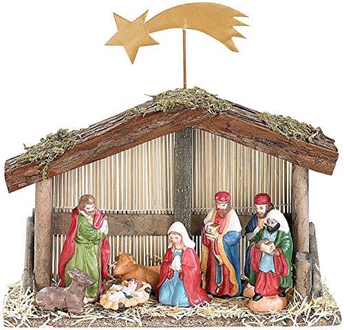 PEARL Weihnachtskrippe: Weihnachts-Krippe (10-teilig) mit handbemalten Porzellan-Figuren...