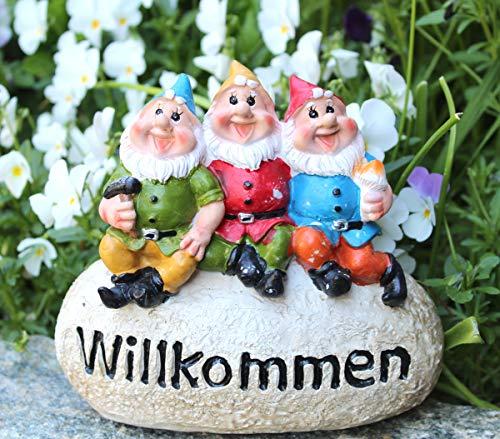 LB H&F Gartenzwerge Dekofigur lustige Zwerge WILLKOMMEN Gartendeko Figur - wetterfest - frostsicher...