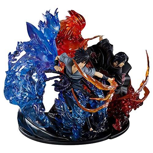 BINGFENG Naruto Action-Figuren Uchiha Sasuke + Uchiha Itachi Anime Figur PVC Sammlung Modell...