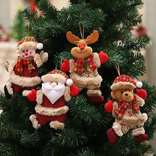 Xisimei 4-teilig Weihnachtsanhänger Christbaum Deko Weihnachtsbaumschmuck für Adventkalender