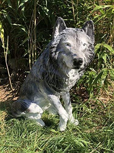 XXL Premium Wolf sitzt 70cm lebensgross Garten Deko Figur inkl. Spedition