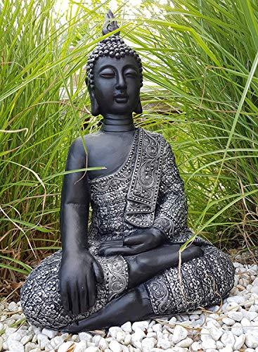 Sitzender Buddha Feng Shui Deko Figur Garten Budha Statue frostfest 45cm Grosse Buddhastatue Silber...