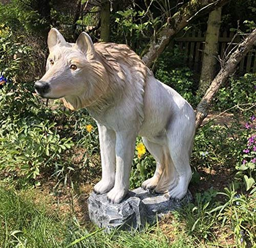XXL Premium Wolf auf Felsen 100cm lebensgross Garten Deko Figur inkl. Spedition