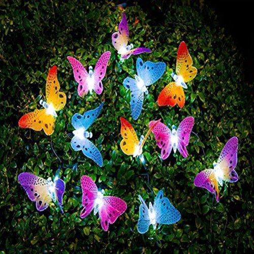 LEDMOMO Led Solar String Licht Multi Farbe Schmetterling Lichterkette Wasserdichte außenbeleuchtung...