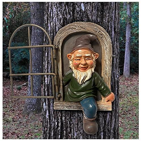 1 Stück Garten GNOME Statue Elf Aus Die Tür Baum Hugger Ornament, Gartenzwerge Wetterfest Garten...