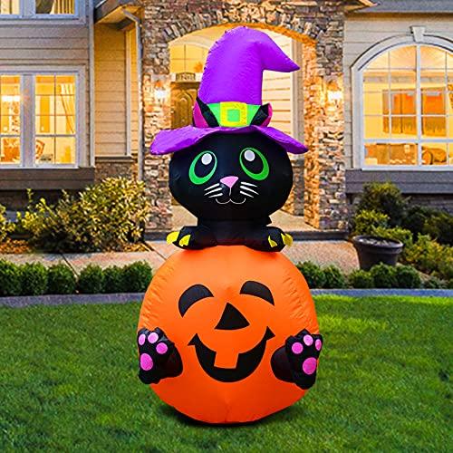 JF Deco 1,2 m hohe aufblasbare Halloween-Kürbis-Katze mit lila magischem Hut LED-Lichtdekoration...