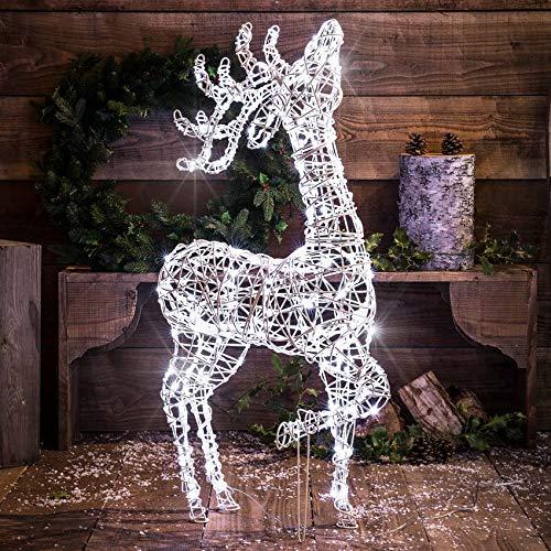 Festive Lights – beleuchtete Outdoor Skulpturen – LEDs in weiß (stehendes Rentier Einzelstück)