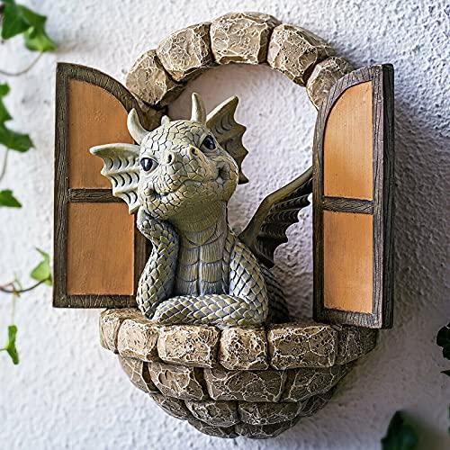 JUSHINI Gartendrachen Figuren Deko Drache Gartenfigur Polyresin Dinosaurier Harz Ornamente...