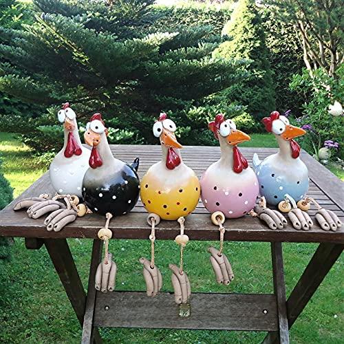 Keramik Huhn Gartendeko, Lustiger Garten Keramik Huhn Ornament, Outdoor Garten Keramikfigur...