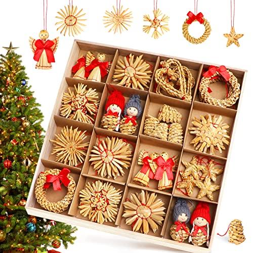 Strohsterne Weihnachtsbaum, 52 Stück Weihnachtlicher Baumschmuck Stroh Anhänger Strohstern,...