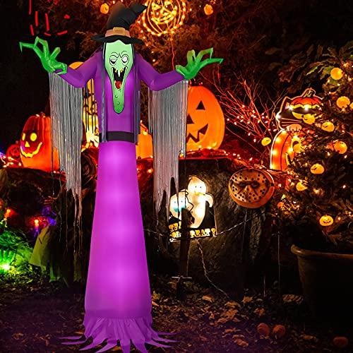 Kalolary 2,7m Halloween Aufblasbare Dekoration, Riesige Halloween Rasenhexe met LED-Lichter für den...