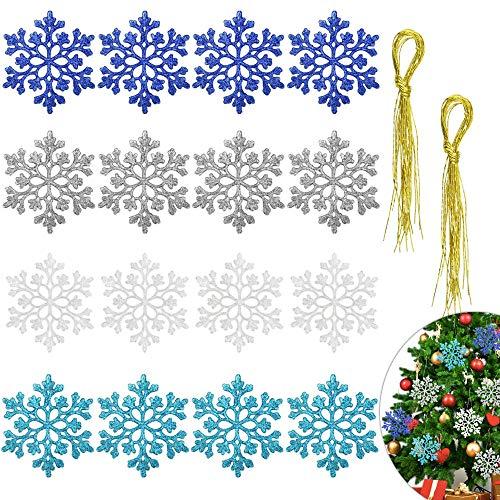 DECARETA 24 Stück Schneeflocken Weihnachten Deko Hängend Glitzer Schneeflocken Weihnachtsbaum...