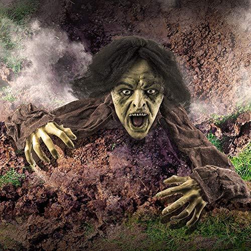Prextex.com Halloween Dekoration, aus der Erde steigender Zombie zur Garten-Dekoration für...