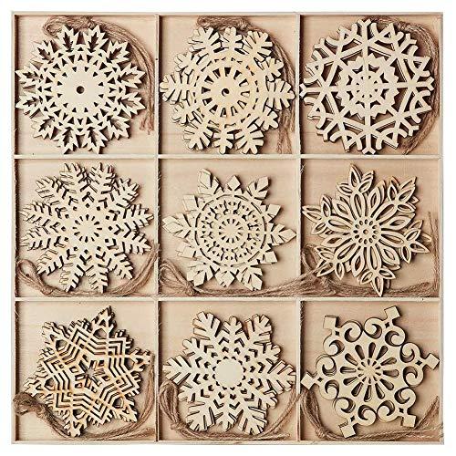 Ambolio 36 Stück Holz Weihnachten Anhänger,Mini Schneeflocken Holzscheiben Streudeko,Holz...