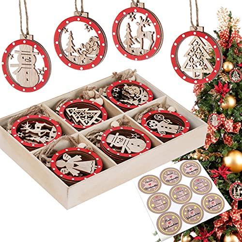 Christbaumschmuck Holz Set, Anhänger Weihnachten Holz, 30 Weihnachtsschmuck aus Holz,...
