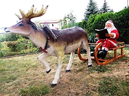 SSITG XXL Rentier+Schlitten+WEIHNACHTSMANN~LEBENSGROSS~2,80m lang~WEIHNACHTSDEKO~Santa