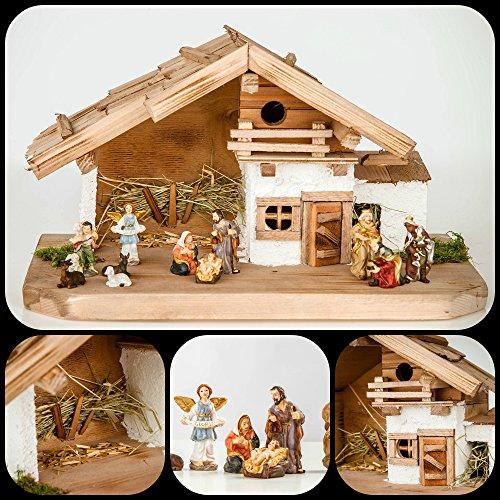 Große Weihnachtskrippe Krippe-(W17+KF7)- mit Figuren ca. 6 cm- Krippenstall...