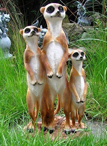 Erdmännchen Familie Figur Gartenfigur Tierfigur Garten Tier Polyresin Gruppe Eddy Aufstellfigur
