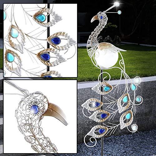 LED Solar Leuchte Garten Figur Kristall Lampe Pfau Außen Beleuchtung Strahler Vogel Globo 33309S