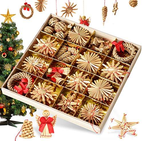 Bluelves Strohsterne Weihnachtsbaumschmuck aus Stroh, 56-teiliges Christbaumschmuck Strohanhänger,...