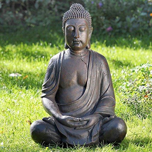 DAFLOXX GENIALE Buddha SKULPTUR 50cm HÖHE GRAU WETTERFEST