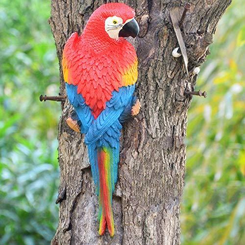 SSLLH Papagei Skulptur,Gartendeko Papagei Figuren,Realistische Papagei Ara Gartenfigur aus Harz...