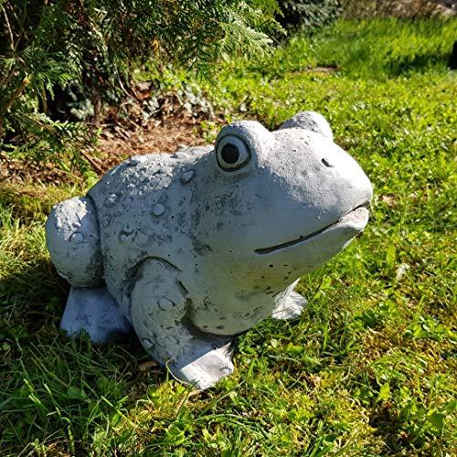 Niedlicher Frosch groß handbemalt frostfest Garten-Deko für außen Brunnen Yoga Feng...