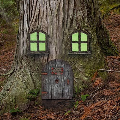 Juegoal Miniatur-Zwerg für Haus Fenster und Tür für Bäume, Hofkunst, Gartenskulptur, Dekoration