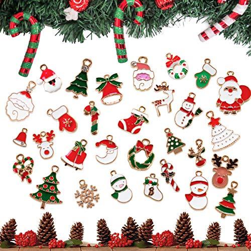 Surplex 30 Stück Mini Anhänger Weihnachten Deko Schmuck Sets DIY Weihnachten Halskette Armband...