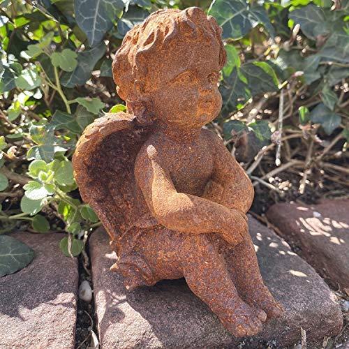 aubaho Skulptur Engel Engelsfigur Figur Dekoration Eisen Rost Antik-Stil 11cm