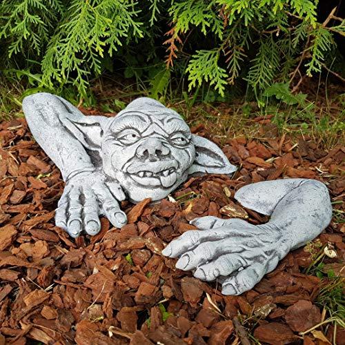 Gartendeko Figur niedlicher Gargoyles Yoda Steinfigur frostfest Handmade klein Gartenfiguren Deko...