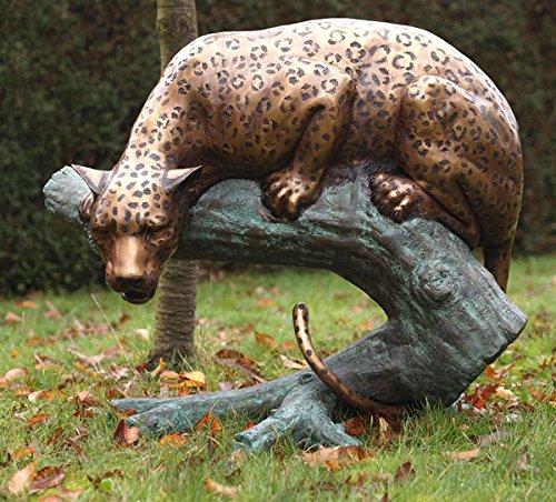 H. Packmor GmbH Bronzeskulptur lebensechter Leopard auf einem AST liegend Dekorationsfigur