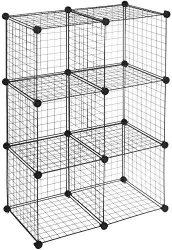 AmazonBasics - 6 Regalwürfel, Drahtregal, Schwarz