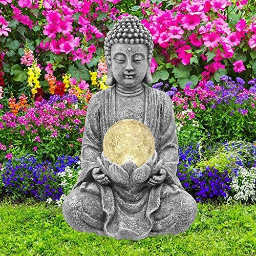 Goodeco Meditieren Buddha Figur Garten Solarleuchte, Zen Buddha Statue Gartenfigur mit gerissener...