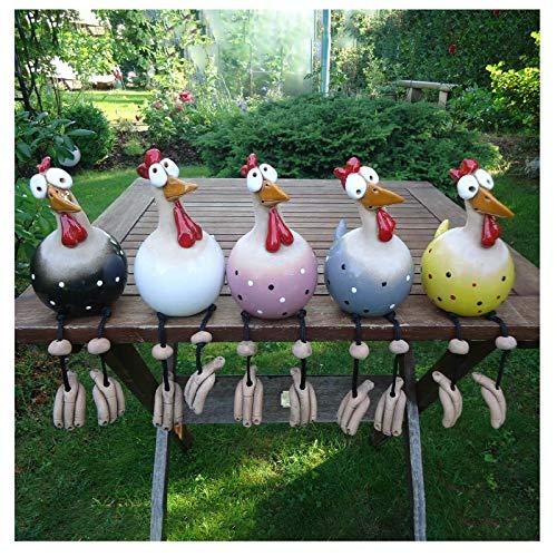 5 Stück Garten Stecker Hen Hahn Hens Vogel Edge Seater Mit Nervösen Beinen, Handgefertigte...