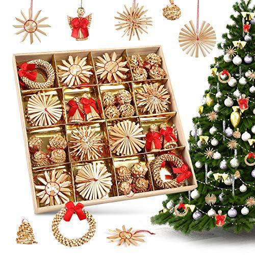 LIHAO 56 x Strohsterne Christbaumschmuck Weihnachtsbaum Stroh Weihnachten Strohanhänger Christbaum...