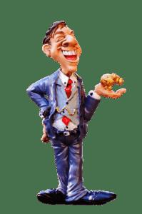 Mann mit Goldschwein auf der Hand Figur Polysterin
