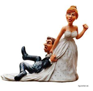 Brautpaar Sie zerrt ihn hinter sich her Figuren Polysterin