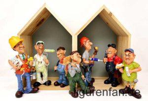 Handwerker Sammlerfiguren aus der Serie Funny Jobs von Les Alpes Polyresin Kunstharz