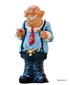 Lustige Sammlerfigur Geldhai Banker Kreditgeber Mafiosi aus Polyresin Kunstharz