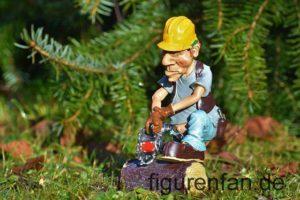 Sammlerfigur Holzfäller Baumfäller mit Motorsäge aus Polyresin Kunstharz