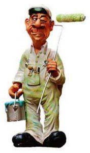 Figur Malermeister mit Rolle und Farbeimer
