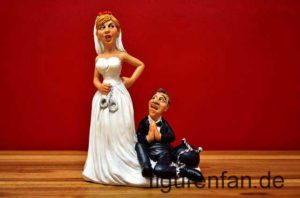 Braut und Bräutigam Figur Handschellen Eisenkugel