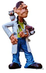 Tierarzt Figur schaut grimmig. Eule auf dem Rücken, Hund und Hase auf dem Arm und Maus in der Tasche