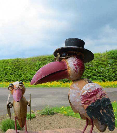 Blech Vögel Figuren wetterfest für den Garten